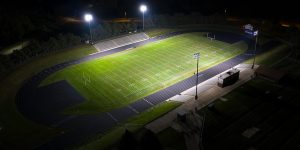 Blair High School football field lit with TLC for LED system