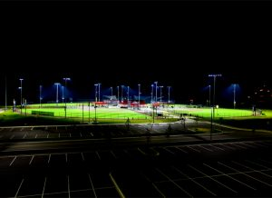 Cedar Stone Park fields and parking area at night