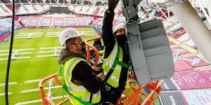 Lights installation at London Stadium