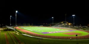 Eustace High School football field improved lighting with Musco TLC for LED retrofit