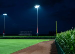 Musco 5 Easy Pieces pole lit with red Show-Light+ at Field of Dreams