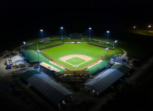 Aerial view of Field of Dreams at night lit with Musco TLC for LED system