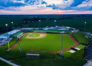 Aerial view of Field of Dreams at sunset lit with Musco TLC for LED system