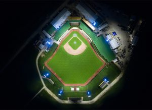 Aerial view of Field of Dreams lit with Musco TLC for LED system
