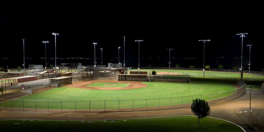 Mansel Carter Oasis Park baseball fields lit with Musco's TLC for LED system.