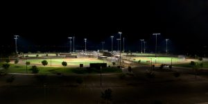 Mansel Carter Oasis Park softball and baseball fields lit with Musco's TLC for LED system.