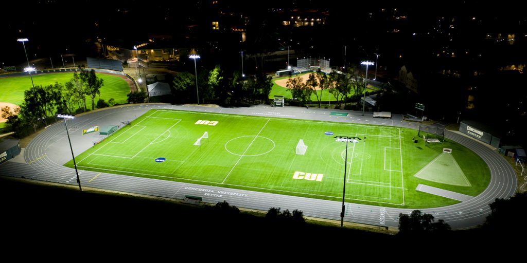 Concordia University soccer field lit with Musco's TLC for LED system
