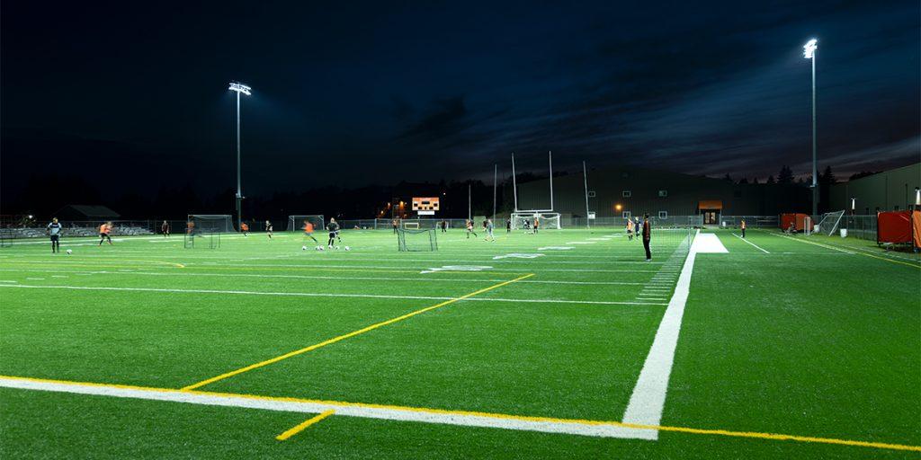 University of Jamestown practice facility under TLC for LED lights